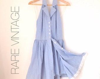 Rare Vintage Halter Dress Chambray