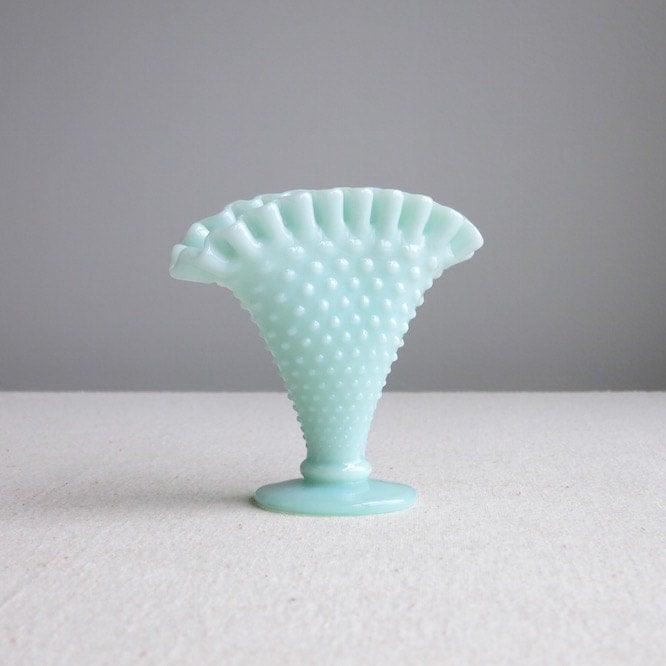 Hobnail Green Pastel Milk Glass Mini Fan Vase By Fenton