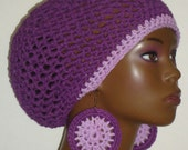 100% Cotton Crochet Berets Tams with Earrings by Razonda Lee Razondalee Ready to Ship