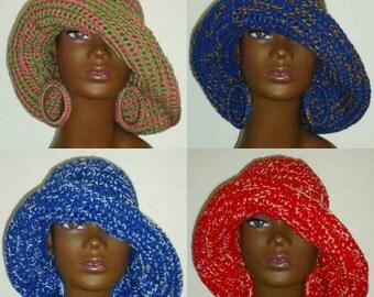 Sorority Crochet Floppy Wide Brimmed Hat and  Earrings by RazondaLee Alpha Kappa Alpha, Sigma Gamma Rho, Delta Sigma Theta, Zeta Phi Beta