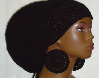 Black Crochet Large Tam Hat Cap with Drawstring and Earrings Dreadlocks Rasta Tam by Razonda Lee Razondalee Made t