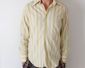 Vintage 60's striped men's dress shirt, beige, yellow, green, pink, brown, fitted at back, Mr. Roberts Eagle Rock Northridge - Medium