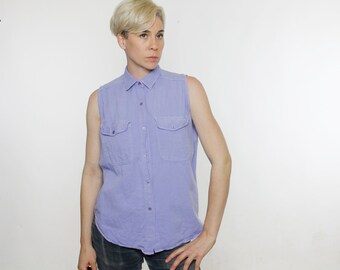 Vintage 90's sleeveless top, lavender, pastel purple, thick cotton, button down, two pockets - Medium