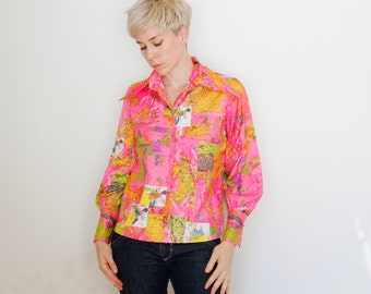 Vintage 60's button down shirt, huge collar, bright pink, map / globe / world / continents pattern, long cuffs, Portofino brand - Medium