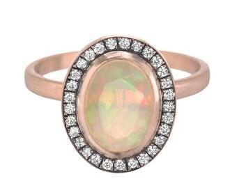 Opal Diamond Ring, Opal Engagement Ring, Opal Ring, Pave Diamond Ring, Opal and Gold Ring, Opal, OOAK, Nixin