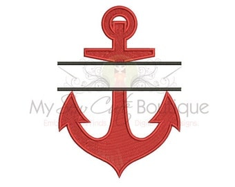 Split Anchor Embroidery Design - Machine Embroidery Designs - 10 Sizes - Instant Download
