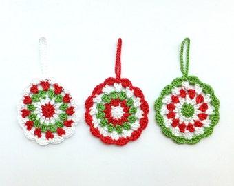 Mandala circle decor - holiday ornaments - crochet Christmas tree decorations - Christmas tree ornaments - crochet mandala decor - set of 3