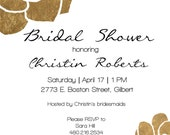 Digital Download Bridal Shower Invite Gold Flowers - Costco Card Size