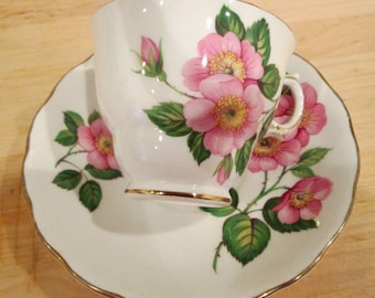 Vintage Rose Cup and Saucer Set.  Royal Vale Cup and Saucer.  English Tea Set.