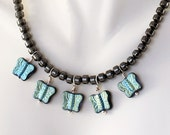 Hematite Necklace - Butterfly Jewelry, Czech Glass Beads, Turquoise Blue / Teal Blue Finish on Jet Black Glass