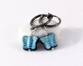 Butterfly Earrings - Gunmetal Clip On Hoops, Teal / Turquoise Blue Finish, Czech Glass Beads