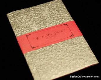 Garden Embossed Tri-fold Invitation w. Rhinestone Buckle