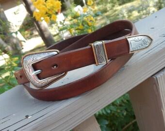 Narrow Western Leather Belt w/ 3 piece Buckle Set