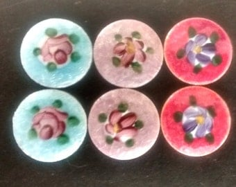 Vintage  Guilloche Enamel  Hand Painted Round Floral Cabochons