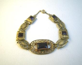 1920s Gold Filigree & Amethyst or Glass Bracelet - 12K GF