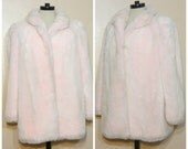 Pastel Pink Fur Coat Jacket Medium Large Faux Fur Pastel Goth Club Kid Rave Cotton Candy 90s