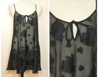 90s Sheer Black Dress Babydoll Floral Hearts Medium Keyhole Neckline Lingere Dress Goth Witchy Boho