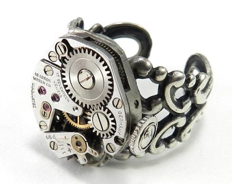 Industrial Steampunk Jewelry Ring Silver Square Clockwork Antique Watch Movement Real Ruby Jewels