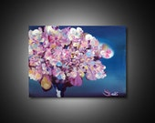 Abstract tree painting - cherry blossom tree, pink and blue painting print, canvas print painting, wall art modern painting tree