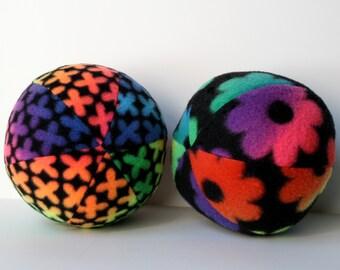 Dog Toy Ball Extra Large Rainbow Flowered Fleece