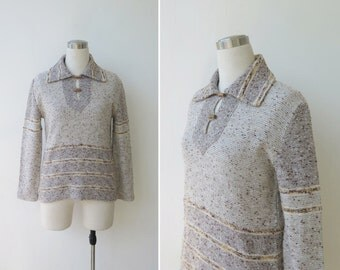 1970s vintage sweater, vintage knit, oatmeal grey tan brown sweater M