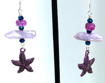 Lavender Stick Pearl & Fuchsia Lampwork Drum Starfish Charm Earrings with Sterling Silver Ear Wires