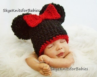 Crochet Minnie Mickey Inspired Pom Pom Hat, Crochet Baby Girl Hat, Baby Boy Hat, Baby Pom Pom Hat, Newborn Photography Prop