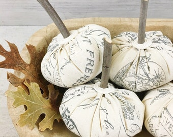 French Script Pumpkins-Rustic Fall Decor