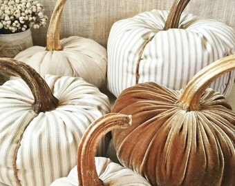 Fabric Pumpkins-Velvet Pumpkins-Mixed Set of 6-Farmhouse Pumpkins