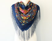 Autumn fall scarf Navy blue floral russian scarf ukrainian shawl Floral fringe scarf Womens shawl Wrap shawl Tassel scarf Tasseled wrap