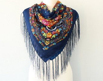 Autumn fall scarf Navy blue floral russian scarf ukrainian shawl Floral fringe scarf Womens shawl Wrap shawl Tassel scarf Tasseled wrap