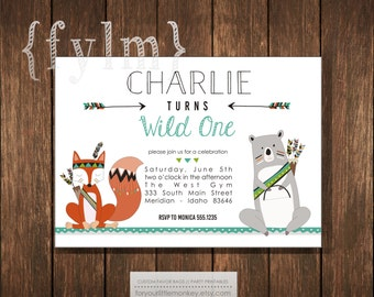 WILD ONE Tribal Party Animal Printable Invitations - I design - You Print - Pow Wow - Tribal - Native American - Feather - Arrow