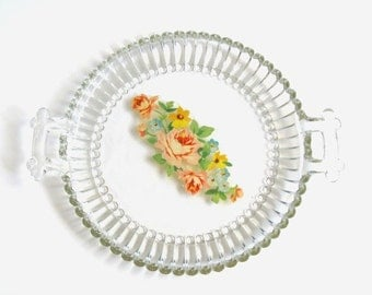 Vintage Floral Crystal Serving Platter
