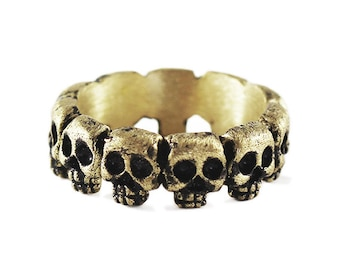 Mens Gold Skull Ring Cool Wedding Band Set