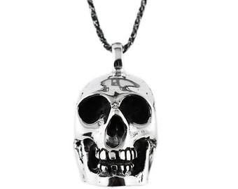 Silver Skull Pendant 925 Sterling Silver Man Necklace Jewelry