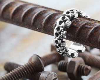 Skull Wedding Band Mens and Womens Sterling Silver Ring