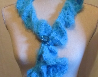 Luscious Teal Shell Scarf or Neck Warmer....Extra Soft with Scarf Holder