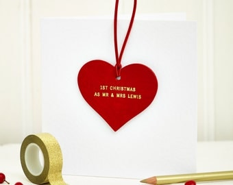 Personalised Wedding and Anniversary Christmas Decoration Card