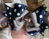Over The Top Hairbow..You Pick your Team Colors..Layered Boutique Bow and Headband..Football Baby Dallas Cowboy