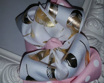 Gold Feather Pink Dot Double Layered Boutique Bow and Interchangeable Headband