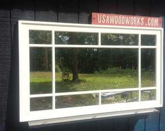 distressed cottage  multipane window mirror ..