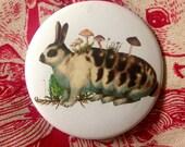 LAST ONE- Pocket Mirror - Surreal Rabbit with Mushrooms Vintage Illustration Collage Mori Girl