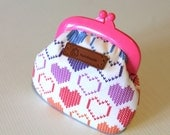 Colorful cross-stitch hearts printed coin purse with pink frame