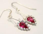 Pink crystal earrings. Sterling silver. Drop earrings. Vintage earrings