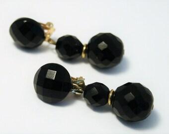 Vintage French Jet beaded earrings.  Black glass earrings.  Clip on earrings