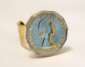 Vintage coin ring. Adjustable ring. Threepence ring