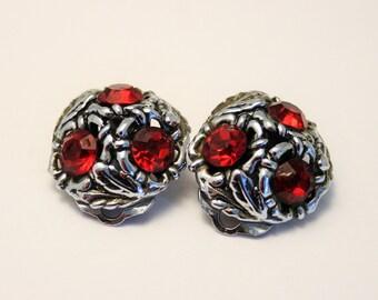 Vintage red crystal earrings. Clip on earrings