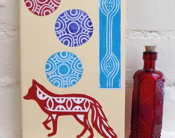 Tribal Red Fox Totem Moleskine Notebook Journal - Lined Paper Inside