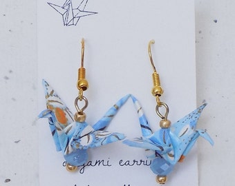 Origami Crane Earrings in Light Blue and Gold