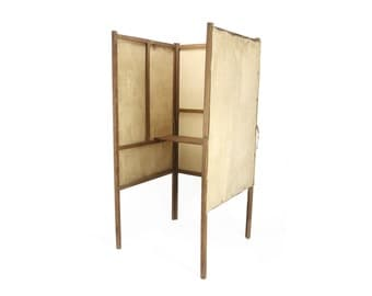 vintage 1920s wood and canvas voting booth